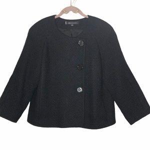 Anne Klein Black Tweed 3 Button Blazer Size 12